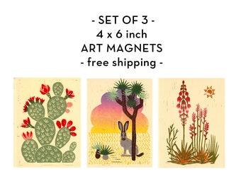 Art Magnets Desert Cactus Plants Set of 3, 4x6, Linocut Print, Linoprint, Illustration, Desert Art, Gift Idea, Southwest Style, Nature Decor