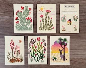Fine Art Desert Cactus Postcard Set of 5 Reproduction of Original Illustration Linocut Print, 4x6, Desert Art, Boho Art, Southwest Decor