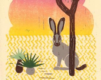 DESERT JACKRABBIT with Joshua Tree - Original Illustration Linocut Block Desert Art Print, Desert Art, Boho Art, Southwest Style, Home Decor