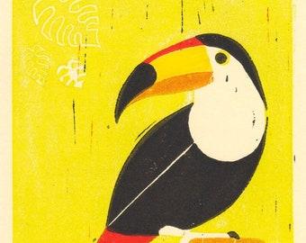 Disney Tiki Room Bird Toucan, Tropical Art, Bird Lover Gift Idea, Birdwatching Bird Art - Original Hand-Pulled Linocut Art Print 5 x 7