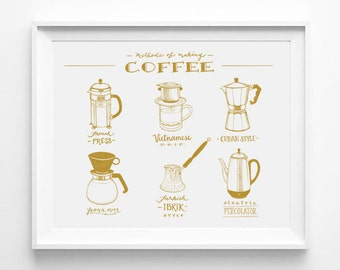 White And Gold, Guide to Coffee, Illustrated Guide, Coffee Lovers Gift, Illustration Art Print, Calligraphy, Cafe Art, Kitchen Art