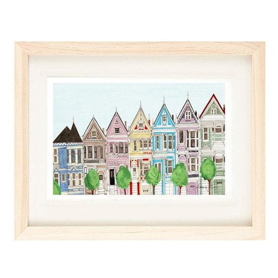SAN FRANCISCO CALIFORNIA Victorian Colorful Houses 8 x 10 | Etsy