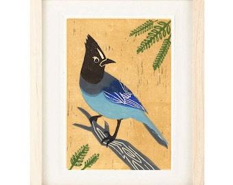 STELLER'S JAY, Linocut Reproduction, Bluebird, Blue Jay, Wall Art Decor, Art Print: 4 x 6, 5 x 7