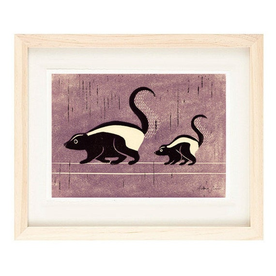 49ccd5aa098 SKUNKS Poster Size Linocut Reproduction Art Print  8 x 10 9 x