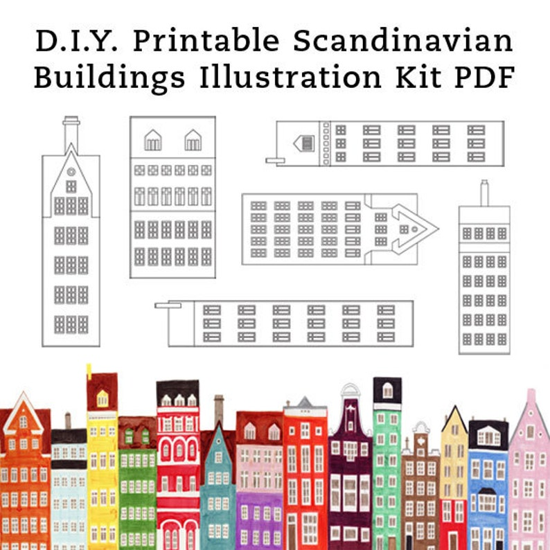 image regarding Printable Buildings called Do it yourself Scandinavian Structures and Households Printable Example Artwork Craft Package PDF 8.5 x 11
