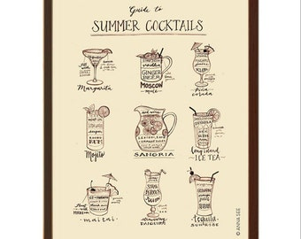 Tropical Drinks, Summer Cocktails Guide, Calligraphy, Drink Recipes, Vintage Style, Moscow Mule, Sangria, Illustration Art Print, Poster