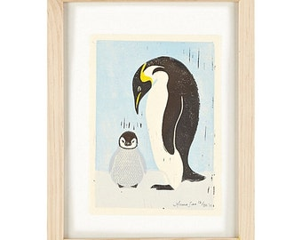 PENGUINS - Original Hand-Pulled Linocut Block Art Print, 5 x 7, Mother And Child, Arctic, Blue, Black, Wall Decor