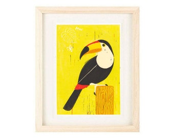 TOUCAN, Tropical Bird, Tiki Decor, Wall Art Decor, Poster Size Linocut Reproduction Art Print: 8 x 10, 11 x 14, 12 x 16