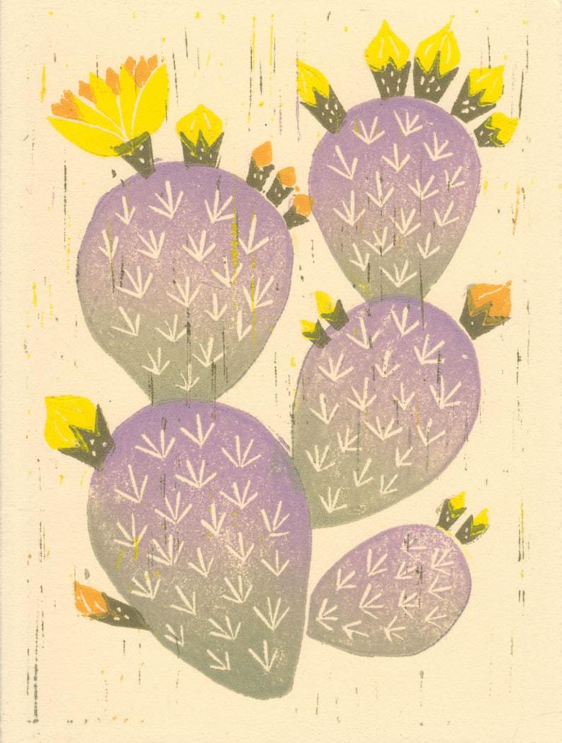 Linocut Reproduction Giclee Home Decor 5 x 7 Wall Art Purple PRICKLY PEAR CACTUS Art Print: 4 x 6 Trendy Art Desert Boho Style Art