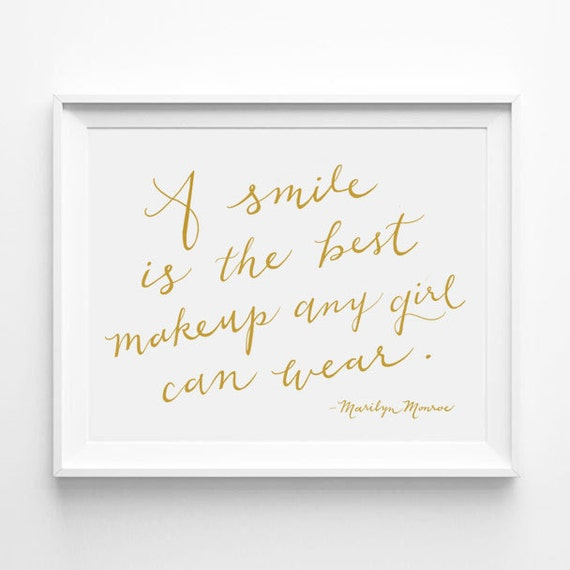 Marilyn Monroe A Smile Is The Best Makeup Any Girl Can Wear Etsy