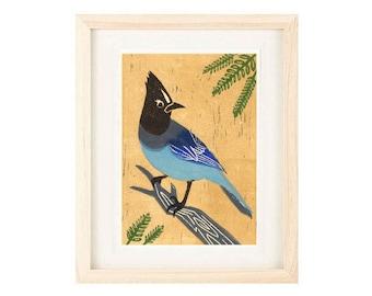 STELLER'S JAY, Bluebird, Blue Jay, Wall Art Decor, Poster Size Linocut Reproduction Art Print: 8 x 10, 11 x 14, 12 x 16