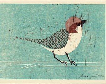 HOUSE SPARROW - Original Linocut Hand-Pulled Hand Carved Illustration Art Print 5 x 7, Oil Paint, Teal, Turquoise, Brown, Black