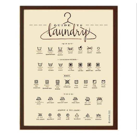 Laundry Care Guide Laundry Symbols Chart Calligraphy Art Etsy
