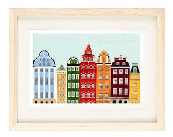 STOCKHOLM, SWEDEN - Buildings Scandinavian Design Colorful Illustration 11 x 17 Art Print For Nursery, Home Decor, Wall Decoration