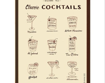 Mens Christmas Gift Idea, Classic Cocktails Guide, 1960s Drinks, Mid Century Modern, Illustration Art Print, Vintage Style, Alcohol Bar Art