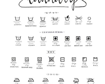 Laundry Care Guide, Laundry Symbols Chart, Calligraphy Art, Housewarming Gift, Black and White, Illustration Print, Mom Gift, Laundry Room