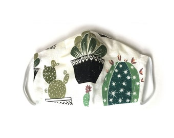 Succulents and Cactus Cotton Mask with Filter Pocket, Handmade in the USA, Nose Wire Mask and Soft Elastic Straps, Adult Womens Face Cover