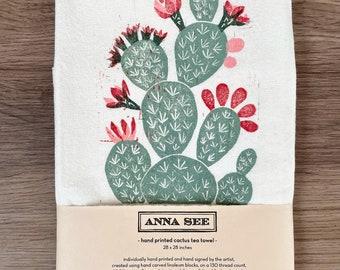 Handprinted Tea Towel of Desert Prickly Pair Cactus, Linocut Block Print Fabric Art, Kitchen Decor, Boho Art, Southwest Style, Nature Decor