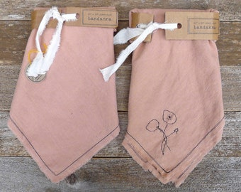 bandanna made of plant-dyed dusty rose organic cotton/hemp, plain or hand-stitched - by kata golda