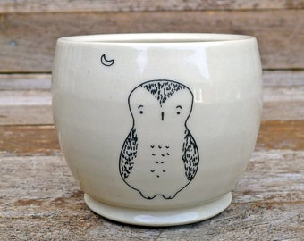handmade ceramic cup or planter: owl and moon, by kata golda