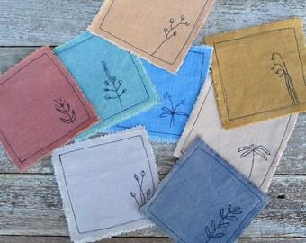 botanical mix-and-match coasters: hand stitched on plant-dyed organic cotton/hemp, by kata golda