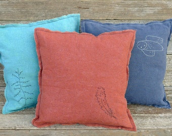 hand-embroidered plant-dyed organic cotton/hemp pillow:  by kata golda