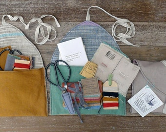 imperfect patchwork & little stitchings kit in a plant-dyed organic cotton/hemp pouch, by kata golda