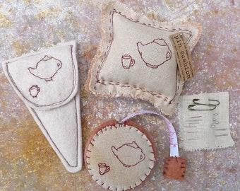 scissor slips, tape measure & pin cushion: tea set, by kata golda