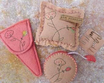 scissor slips, tape measure & pin cushion: flowers, by kata golda