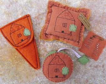scissor slips, tape measure & pin cushion: house with tree by kata golda