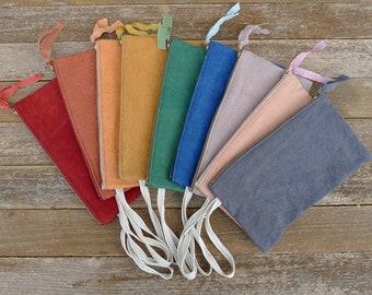 plant-dyed organic cotton/hemp notions pouch:  by kata golda