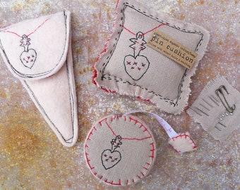 scissor slips, tape measure & pin cushion: heart charm, by kata golda