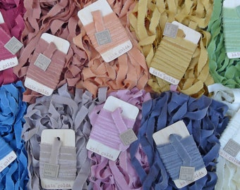 craft supply: hand torn plant-dyed silk ribbon, by kata golda
