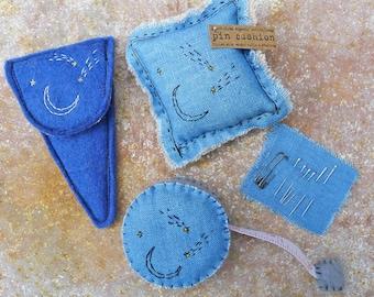 scissor slips, tape measure & pin cushion: moon and stars, by kata golda