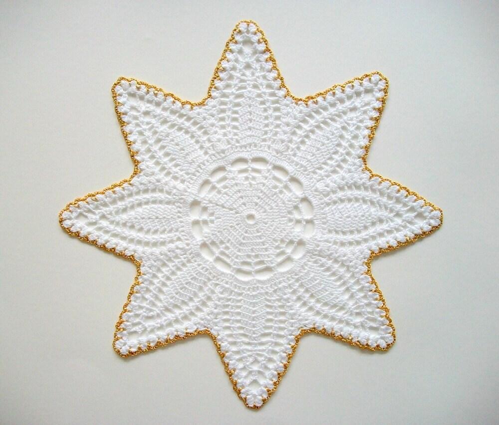 Tapete estrella Crochet encaje de algodón blanco con borde de | Etsy