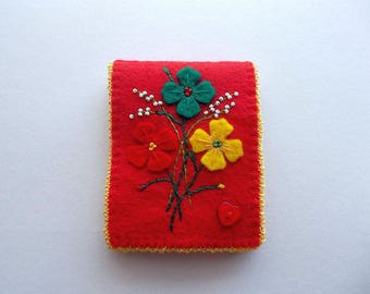 Needle Book Red Felt Needle Keeper with Hand Embroidered Felt Flowers Heart Button and Yellow Crochet Edge Handsewn