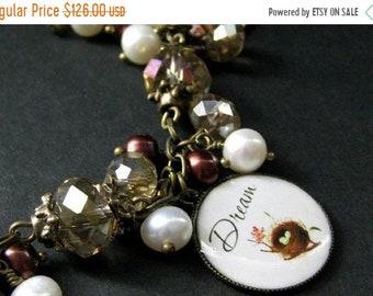 SUMMER SALE Bird Nest Charm Bracelet in Fresh Water Pearl, Taupe Crystals and Bronze. Handmade Bracelet.