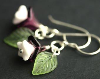 Purple Flower Earrings. Purple Earrings. White and Purple Floral Earrings with Green Leaves. Silver Dangle Earrings. Handmade Earrings.