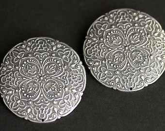 Two (2) Viking Brooches. Stamped Brooches. Silver Apron Pins. Brooch Pins Set. Shoulder Brooches. SCA Jewelry. Historical Jewelry.
