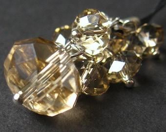 Crystal Charm. Taupe Crystal Pendant. Car Charm, Phone Charm, Purse Charm or Zipper Pull. Handmade Charm.