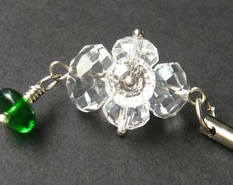 Crystal Pendant. Handmade Charm. Green Crystal Charm. Phone Charm, Key Chain, Wallet Charm or Zipper Pull.