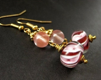 Lampwork Earrings in Raspberry and Cherry Quartz Swirl. Handmade Earrings.