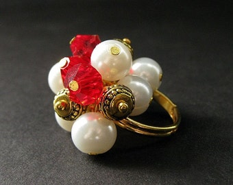 Red Cluster Ring in Crystal, Pearl and Gold. Handmade Jewelry by Gilliauna