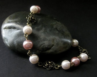 Pearl Bracelet. Rosebud Bracelet in Soft Pink Pearls and Bronze. Handmade Jewelry.