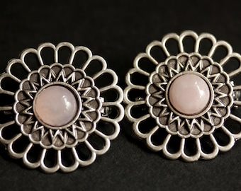 Set of Two Viking Brooches Rose Quartz Shoulder Brooches in Aged Silver Pink Norse Apron Pins Viking Jewelry Historical Renaissance Jewelry