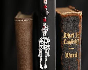 White Skeleton Bookmark. Halloween Bookmark. Beaded Bookmark. Halloween Book Charm. Book Hook Bookmark. Handmade Book Charm.