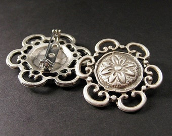 Two (2) Viking Shoulder Brooches in Floral Design. Norse Historical Renaissance Jewelry by Gilliauna