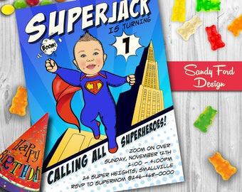 Baby Superhero 1st Birthday Party Invitation