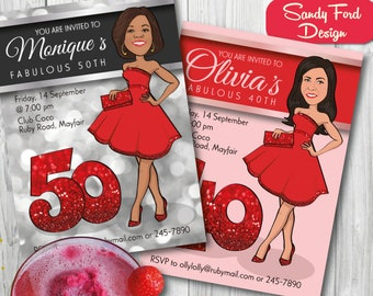 Woman's Birthday Party Invitation Little red dress - 21st, 30th, 40th, 50th birthdays or any age - Illustrated from your photo DIGITAL FILE