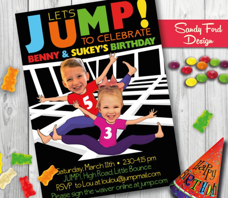 Trampoline Bounce House Birthday Party Invitation For Two Boys Twins